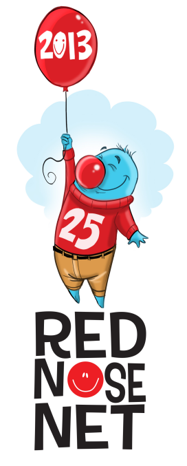 Red Nose Net's mascot, Happy Nano, by Len Peralta